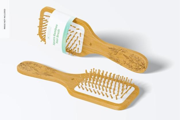 Maquete de escovas de cabelo de bambu quadradas