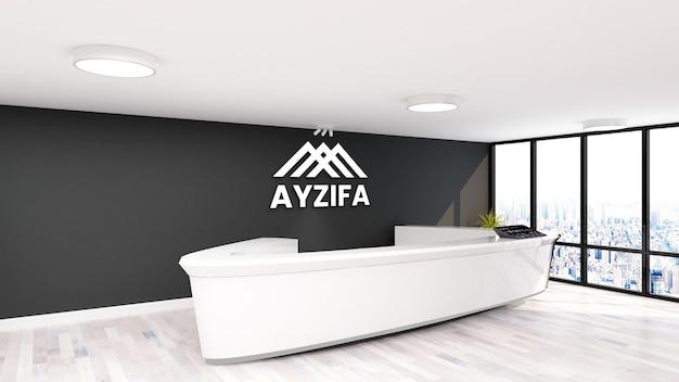 Maquete de escritório com logotipo minimalista na recepcionista com parede preta