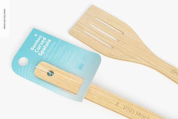 Maquete de espátula curva de bambu, close-up