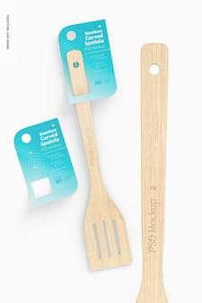 Maquete de espátula curva de bambu