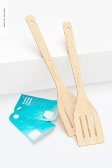 Maquete de espátula curvada de bambu, inclinada