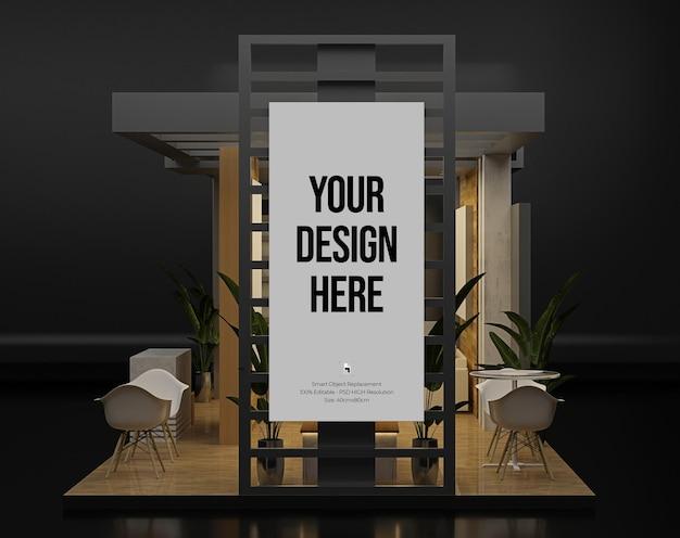 Maquete de estande de exposição com design de parede