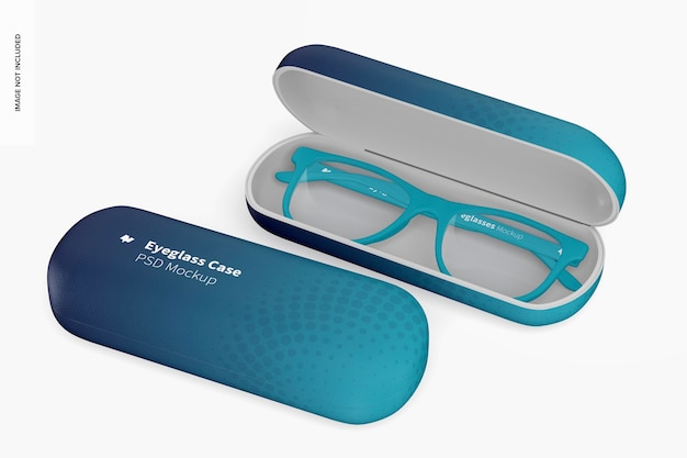 Maquete de estojos de óculos, aberto