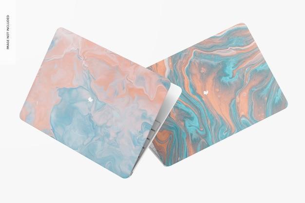 Maquete de estojos de plástico duro, caindo
