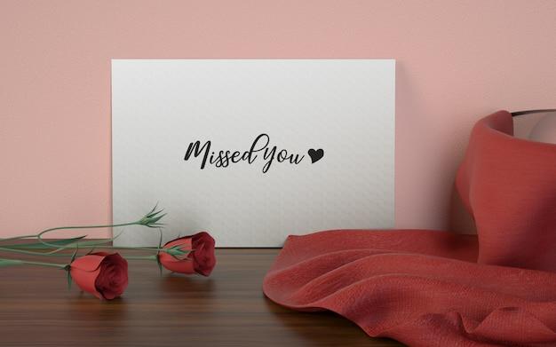 Maquete de estúdio de cartão de amor