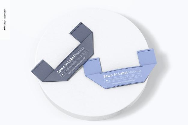Maquete de etiqueta costurada, vista superior