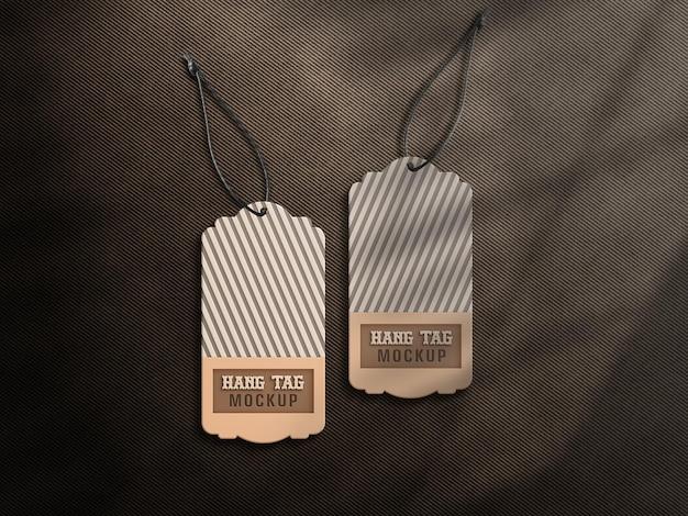 Maquete de etiqueta de etiqueta suspensa marrom e branco cor com sombra de janela premium psd