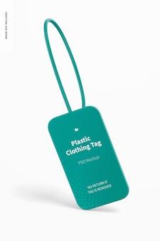 Maquete de etiqueta de roupas de plástico, vista frontal
