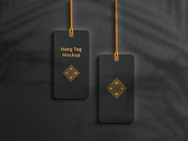 Maquete de etiqueta de tag pendurada com sombra de folhas