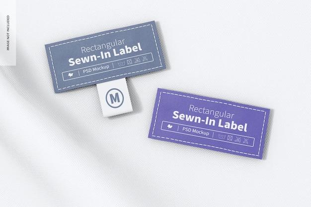 Maquete de etiquetas costuradas retangulares, vista superior