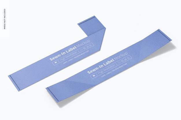 Maquete de etiquetas costuradas