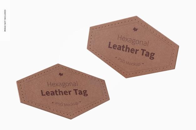 Maquete de etiquetas de couro hexagonal