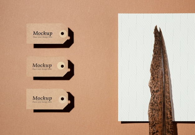 Maquete de etiquetas de material natural