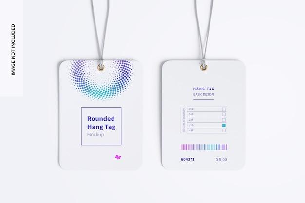 Maquete de etiquetas de pendurar arredondadas com fio de dois lados 02
