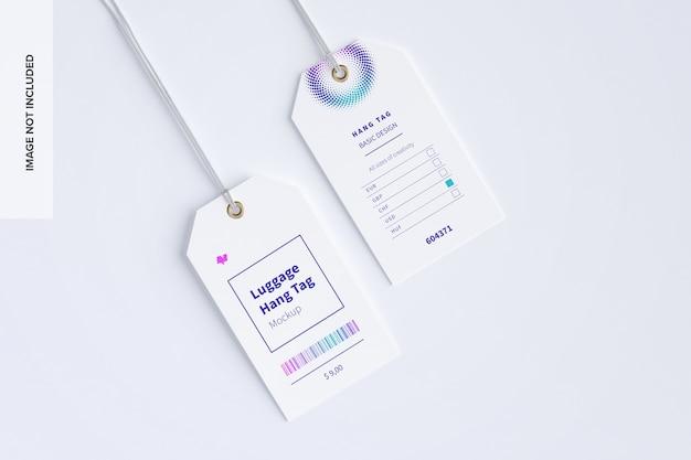 Maquete de etiquetas de pendurar bagagem com cordas
