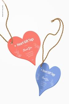 Maquete de etiquetas de presente de coração
