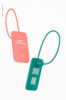 Maquete de etiquetas de roupas de plástico, flutuante
