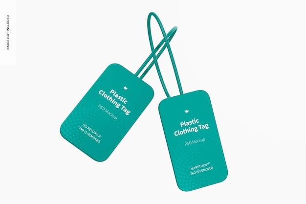 Maquete de etiquetas de roupas de plástico
