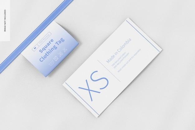 Maquete de etiquetas de roupas quadradas, vista superior