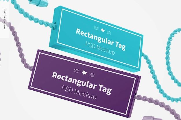 Maquete de etiquetas têxteis retangulares, flutuantes