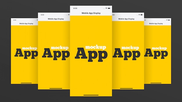 Maquete de exibição de aplicativos para dispositivos móveis