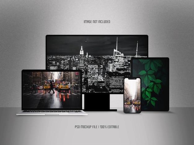 Maquete de exibição de dispositivos multimídia