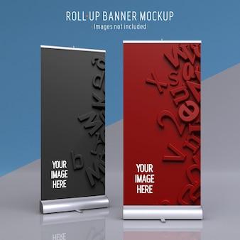 Maquete de exibição de dois banners enroláveis