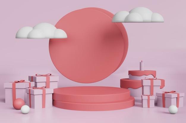 Maquete de exibição de estágio de renderização 3d com conceito de aniversário