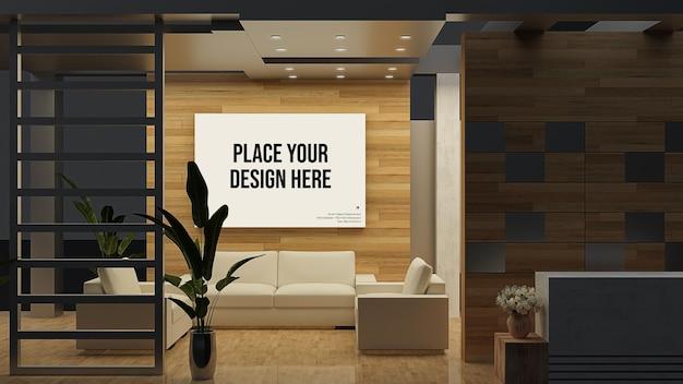 Maquete de exibição de parede e moldura com móveis Psd Premium