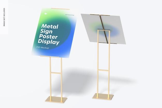 Maquete de exibição de piso de pôster de placas de metal, vista frontal e traseira