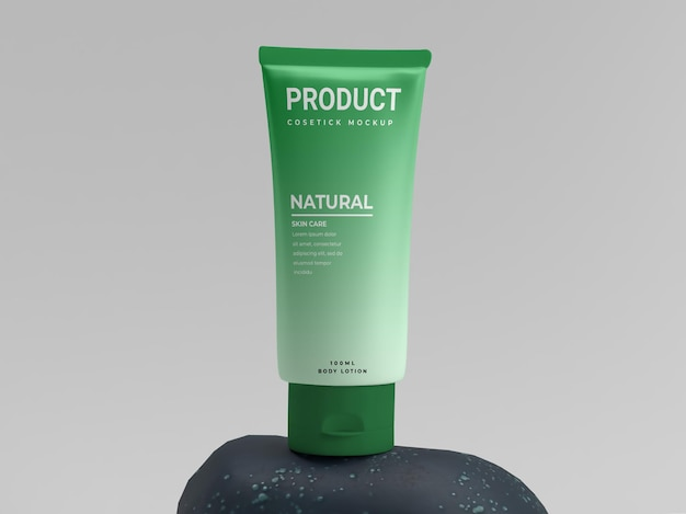 Maquete de exibição de produto cosmético natural fresco verde em pedra