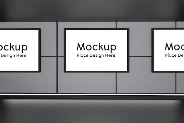 Maquete de exibição de publicidade de outdoor com renderização 3d