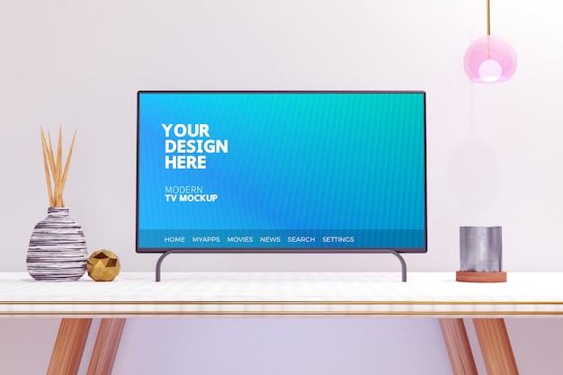 Maquete de exibição de televisão moderna editável