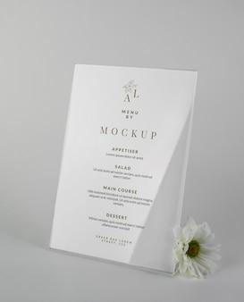 Maquete de exibição do menu da mesa