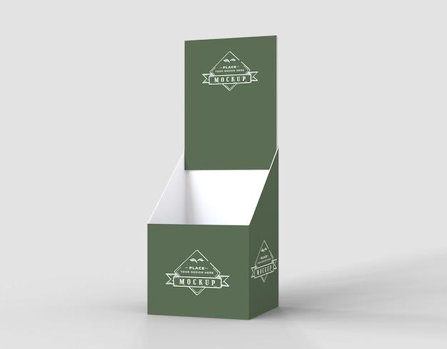 Maquete de expositor verde minimalista de vista frontal
