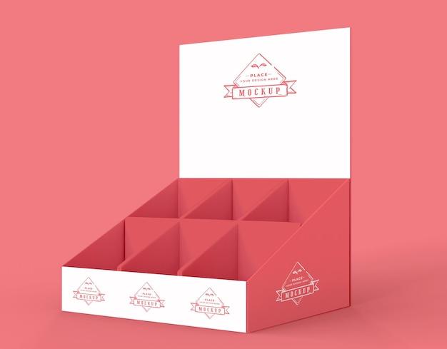 Maquete de expositor vermelho minimalista de vista lateral