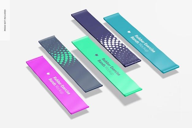 Maquete de faixas de borracha para exercícios, flutuante