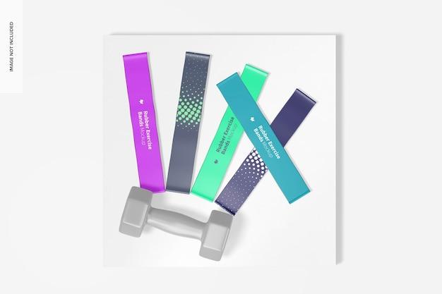 Maquete de faixas de borracha para exercícios, vista superior