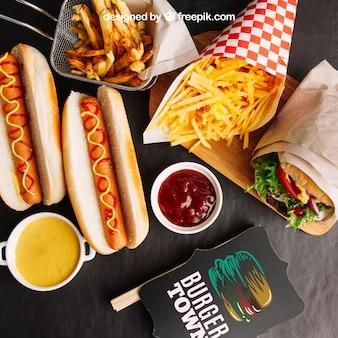 Maquete de fast food deliciosa