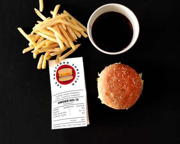 Maquete de fast food e fatura