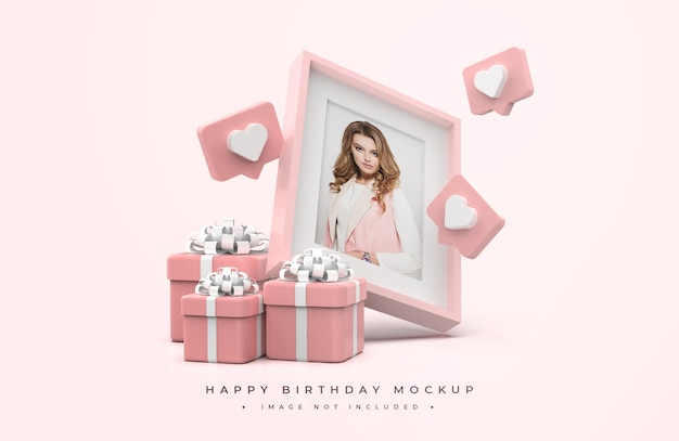 Maquete de feliz aniversário rosa e branco