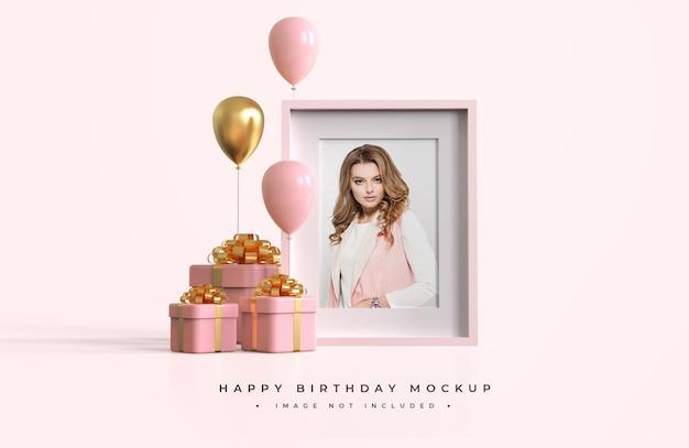 Maquete de feliz aniversário rosa e dourado