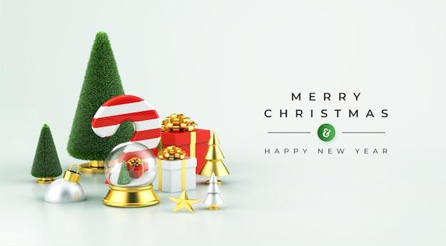 Maquete de feliz natal e feliz ano novo com decoração de natal 3d
