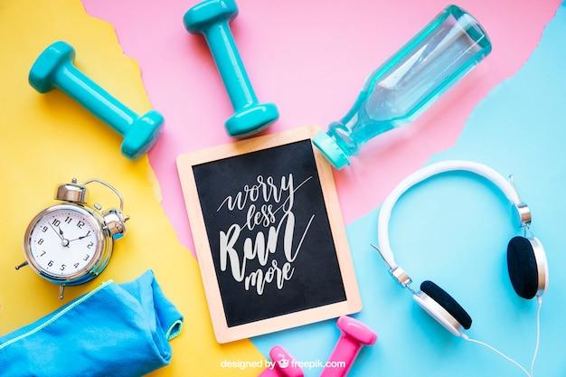 Maquete de fitness com ardósia e elementos diferentes