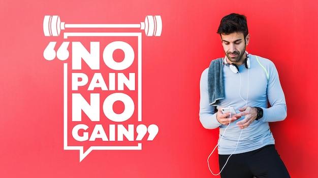 Maquete de fitness com citação