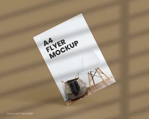 Maquete de flyer a4 em renderização 3d