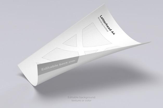 Maquete de folha de papel timbrado flutuando isolado