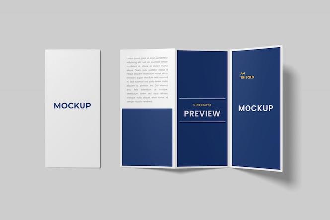 Maquete de folheto a4 com três dobras