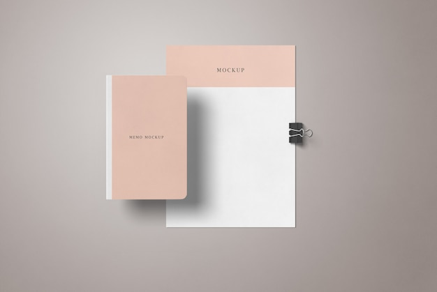 Maquete de folheto a4 e livro de memorando