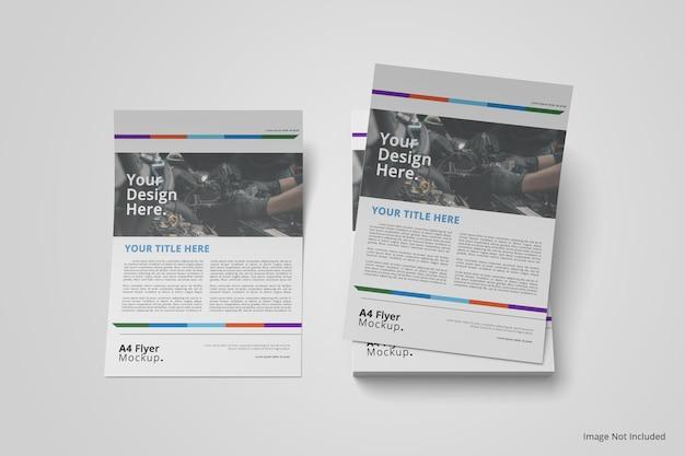 Maquete de folheto a4 em vista superior